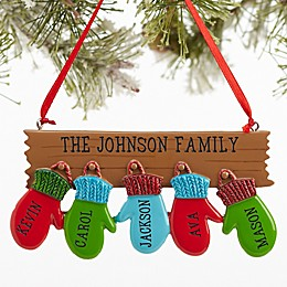 Warm Mitten Family Name Christmas Ornament Collection