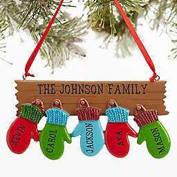 Warm Mitten Family 5-Name Christmas Ornament