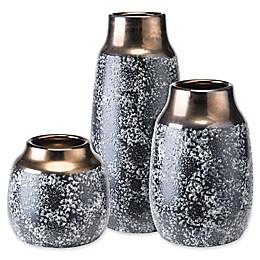 Zuo® Stoneware Metal Vase in Black
