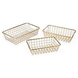 Zuo® Modern Grid Baskets in Gold (Set of 3)