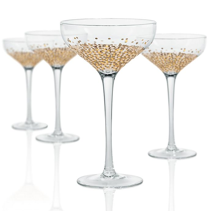 Alternate image 1 for Artland Ambrosia Coupe Glasses in Gold (Set of 4)