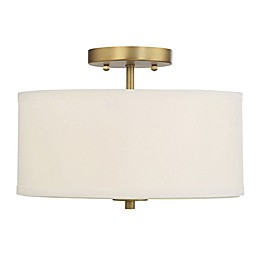 Filament Design 2-Light Ceiling Fixture in Brass with White Drum Shade