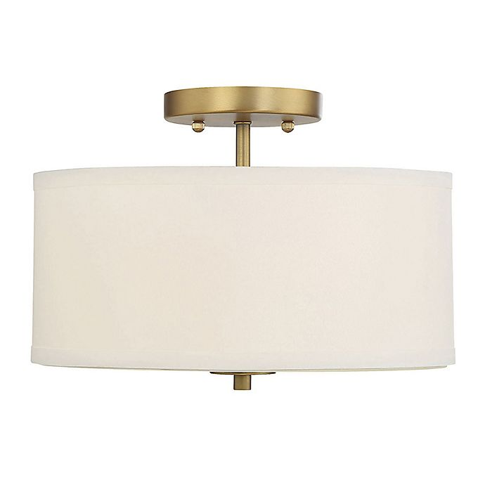 Alternate image 1 for Filament Design 2-Light Ceiling Fixture in Brass with White Drum Shade