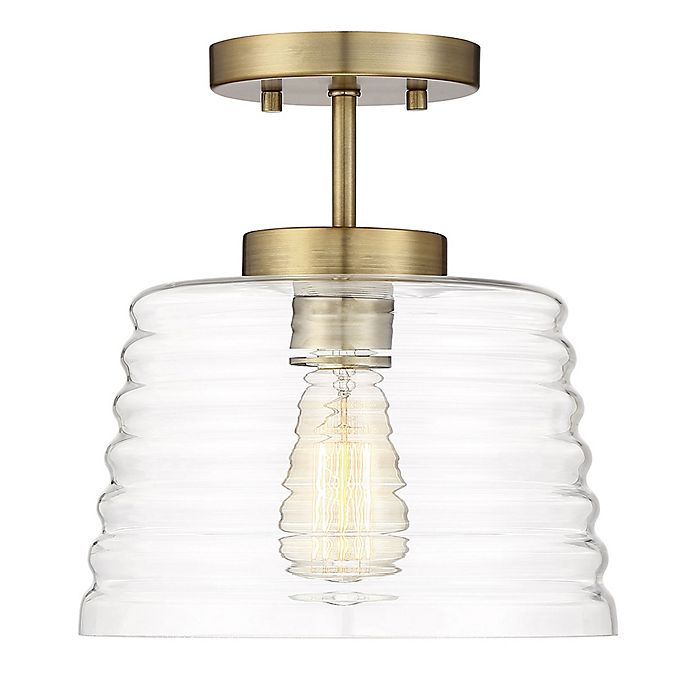 Alternate image 1 for Filament Design Flush Mount Ribbed Glass Ceiling Fixture in Brass