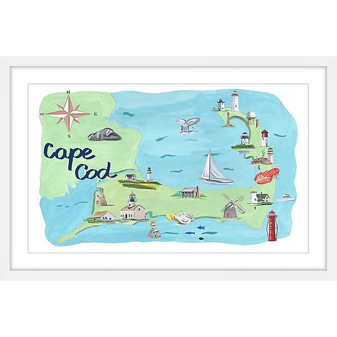 Alternate image 1 for Marmont Hill Cape Cod Map 16-Inch x 24-Inch Framed Wall Art