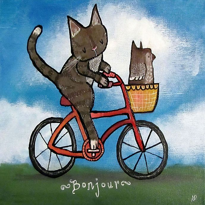 Alternate image 1 for Marmont Hill Bike Riding Cat 24-Inch sq. Canvas Wall Art