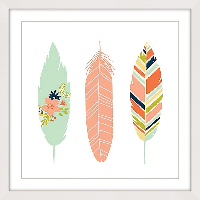 Alternate image 1 for Marmont Hill Feathers I 24-Inch x 24-Inch Multicolor Framed Wall Art