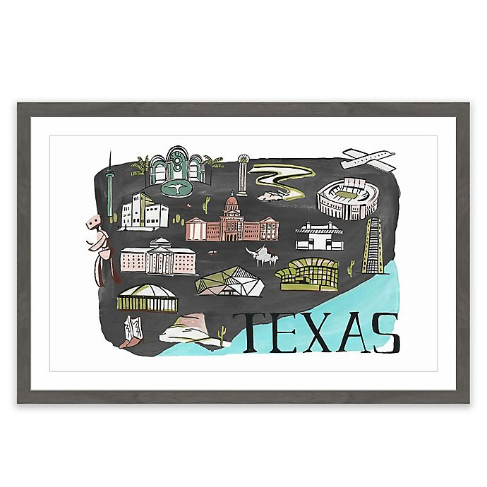 Alternate image 1 for Marmont Hill All About Texas 18-Inch x 12-Inch Framed Wall Art