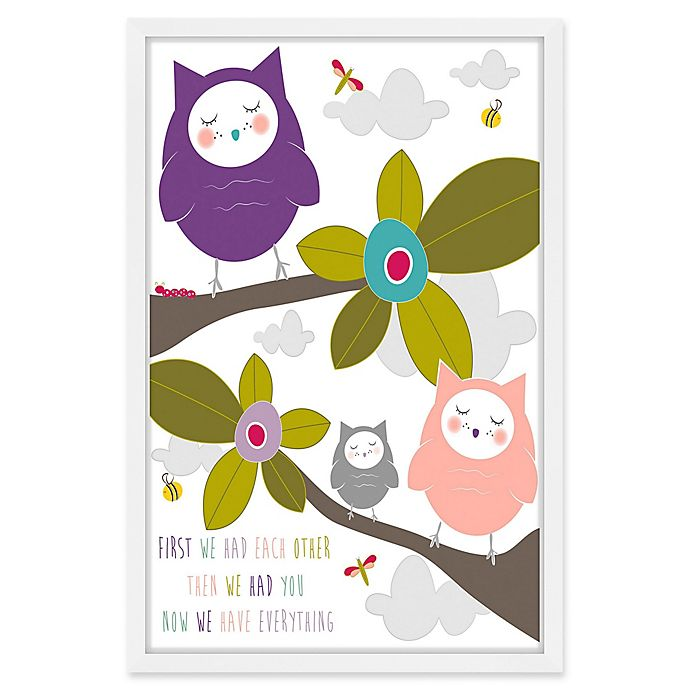 Alternate image 1 for Marmont Hill Owls 24-Inch x 36-Inch Framed Wall Art in Purple