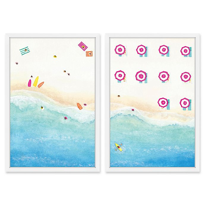 Alternate image 1 for Marmont Hill Pink Umbrellas Diptych 24-Inch x 18-Inch Framed Print Wall Art (Set of 2)