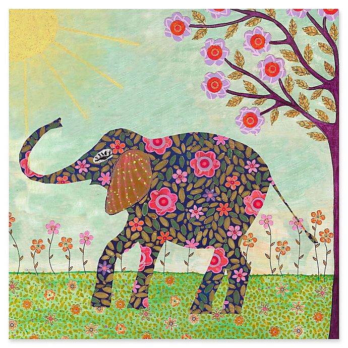 Alternate image 1 for Marmont Hill Sunny Elephant 24-Inch Square Canvas Wall Art