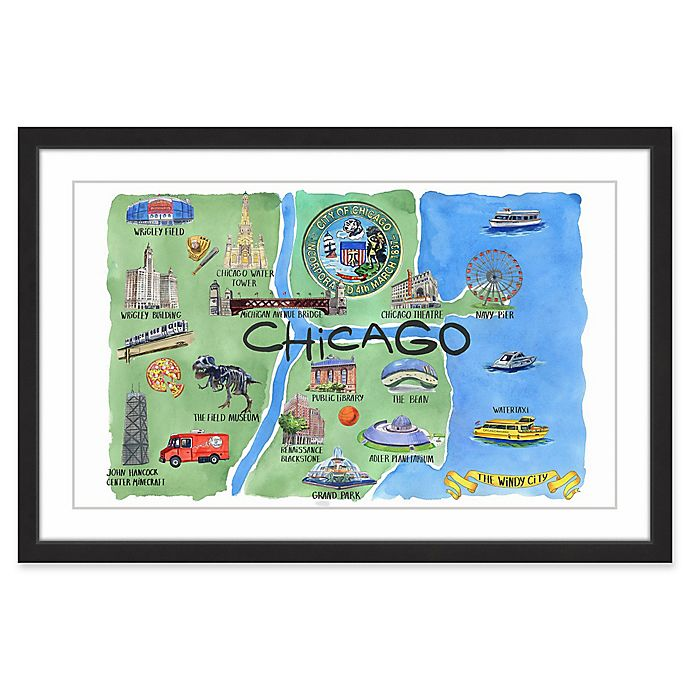 Alternate image 1 for Marmont Hill Rivers of Chicago 24-Inch x 16-Inch Framed Wall Art