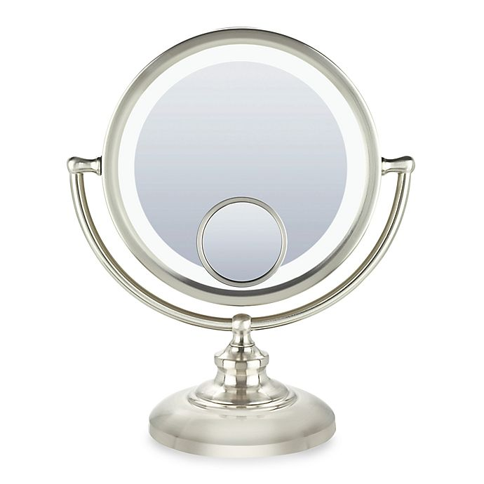Alternate image 1 for Conair® Fluorescent 1x/10x Fluorescent Mirror with 15X Spot Mirror in Satin Nickel Finish