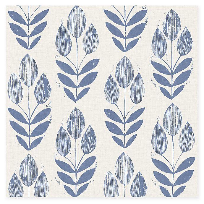 Alternate image 1 for Beacon House Block Print Tulip Wallpaper in Blue