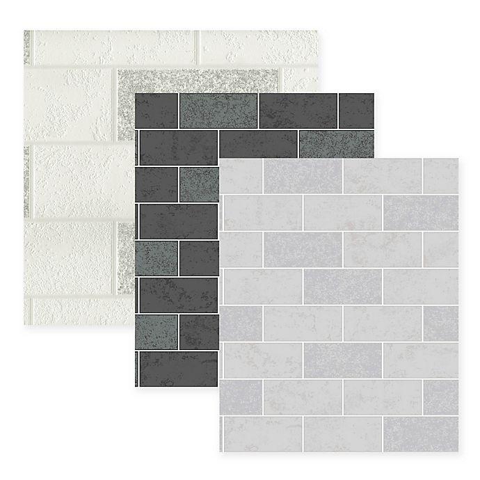 Ceramic Subway Tile Wallpaper Bed