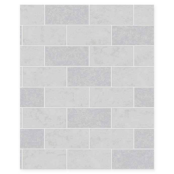 Alternate image 1 for Ceramic Subway Tile Wallpaper in Grey