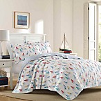 Laura Ashley® Ahoy Bright Reversible Full/Queen Quilt Set in Blue
