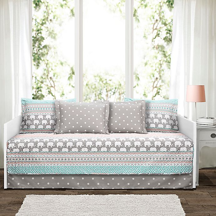 Alternate image 1 for Lush Décor Elephant Stripe Daybed Set in Turquoise