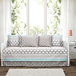 Lush Décor Elephant Stripe Daybed Set in Turquoise