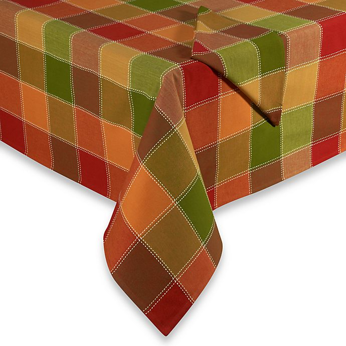 Alternate image 1 for Autumn Check Tablecloth and Napkin