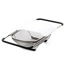 Excelsteel 13.5-Inch Over-the-Sink Stainless Steel Strainer with Cutting Board