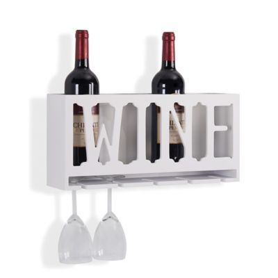 Danya B Quot Wine Quot Bottle And Wine Glass Rack Bed Bath Amp Beyond