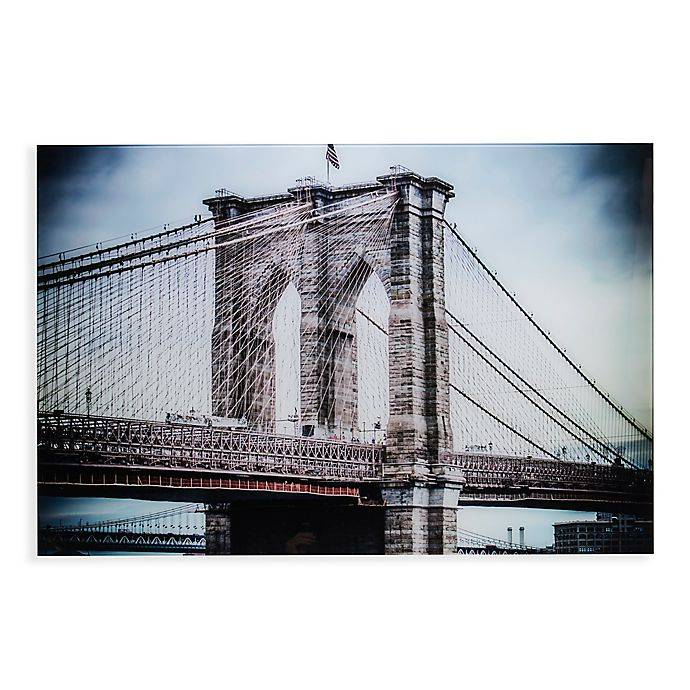 Alternate image 1 for Southern Enterprises 47-Inch x 32-Inch The Brooklyn Bridge Glass Wall Art