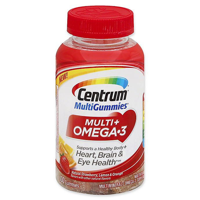Alternate image 1 for Centrum® Multi Gummies® 100-Count Multi + Omega 3 in Natural Strawberry Lemon and Orange