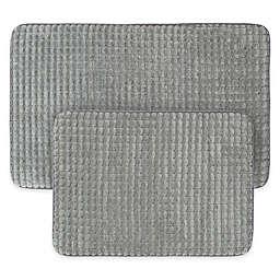 Nottingham Home Jacquard Memory Foam Bath Mat in Platinum (Set of 2)