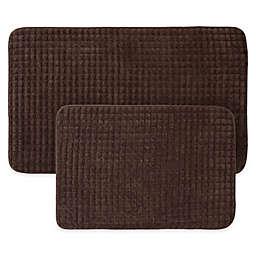 Nottingham Home 2-Piece Jacquard Memory Foam Bath Mat in Chocolate