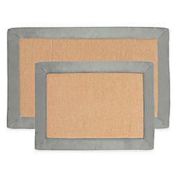 Nottingham Home Faux Fleece Memory Foam Bath Mat (Set of 2) in Platinum
