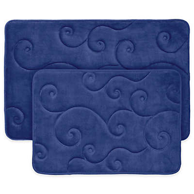 Nottingham Home 2-Piece Embossed Memory Foam Bath Mat