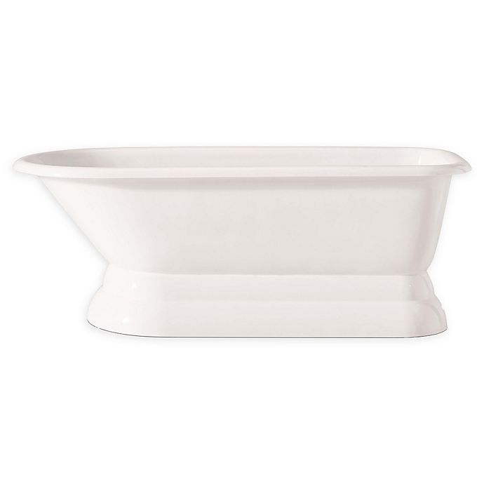 Alternate image 1 for Cheviot Traditional 61-Inch Roll Rim Cast Iron Bathtub with Pedestal Base in White