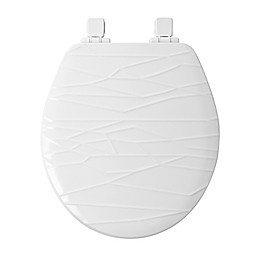 Mayfair Round Molded Wood Geometric Design Toilet Seat with Whisper Close in White