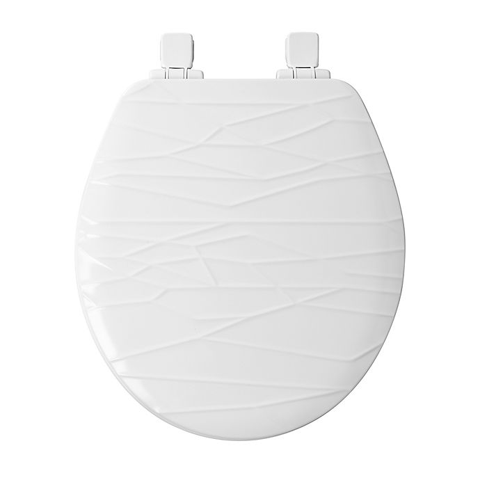 Alternate image 1 for Mayfair Round Molded Wood Geometric Design Toilet Seat with Whisper Close in White