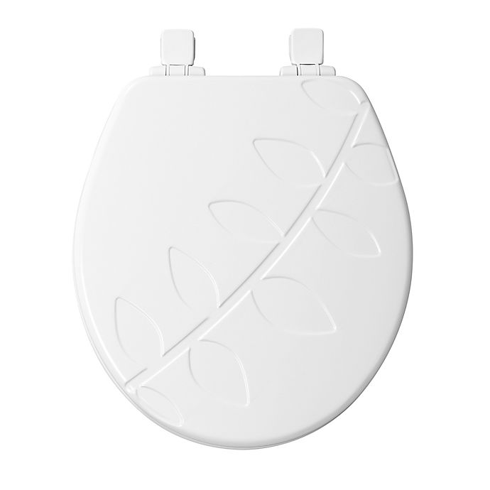 Alternate image 1 for Mayfair Round Closed Front Molded Wood Vineyard Design Toilet Seat with Whisper Close in White