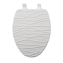 Mayfair Elongated Closed Front Molded Wood Geometric Design Toilet Seat with Whisper Close in White