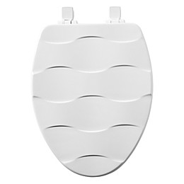 Mayfair Elongated Closed Front Molded Wood Basket Weave Design Toilet Seat with Whisper Close
