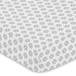 Sweet Jojo Designs® Feather Tribal Geometric Print Fitted Crib Sheet in Grey