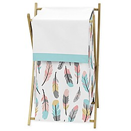 Sweet Jojo Designs® Feather Laundry Hamper in Turquoise/Coral