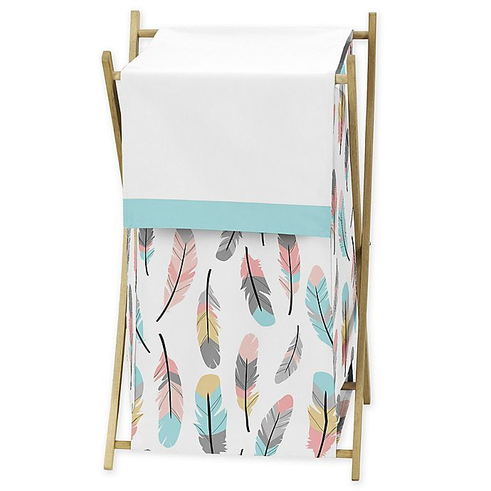 Alternate image 1 for Sweet Jojo Designs® Feather Laundry Hamper in Turquoise/Coral