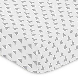 Sweet Jojo Designs Mod Arrow Triangle Print Fitted Crib Sheet in Grey/White