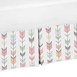 Sweet Jojo Designs Mod Arrow Crib Skirt in Coral/Mint