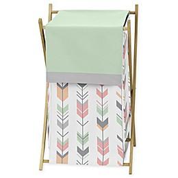 Sweet Jojo Designs Mod Arrow Laundry Hamper in Coral/Mint