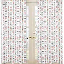 Sweet Jojo Designs Mod Arrow Print 84-Inch Window Panels in Coral/Mint (Set of 2)