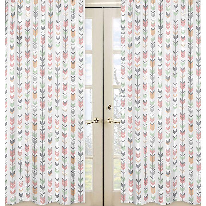 Alternate image 1 for Sweet Jojo Designs Mod Arrow Print 84-Inch Window Panels in Coral/Mint (Set of 2)