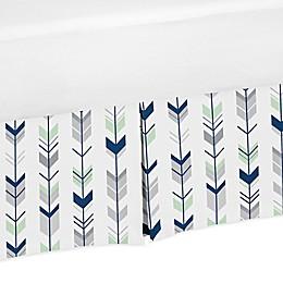 Sweet Jojo Designs® Mod Arrow Crib Skirt in Navy/Mint