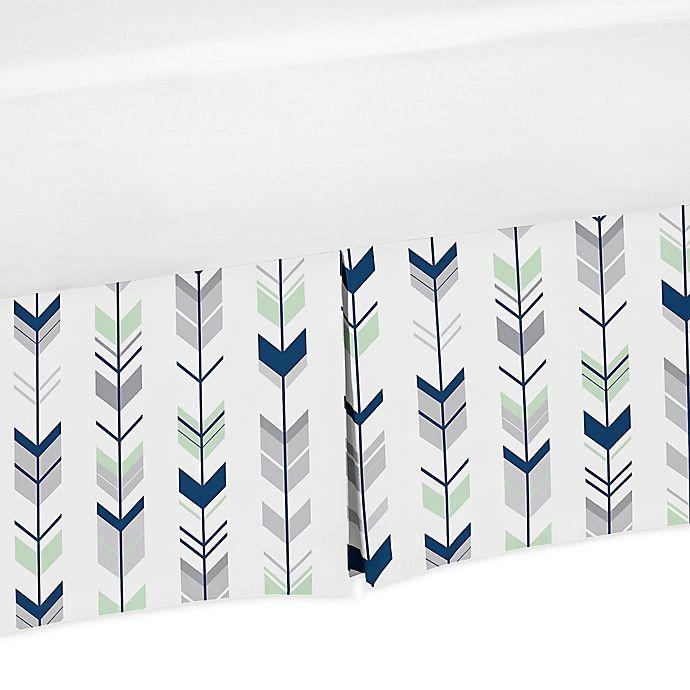 Alternate image 1 for Sweet Jojo Designs® Mod Arrow Crib Skirt in Navy/Mint