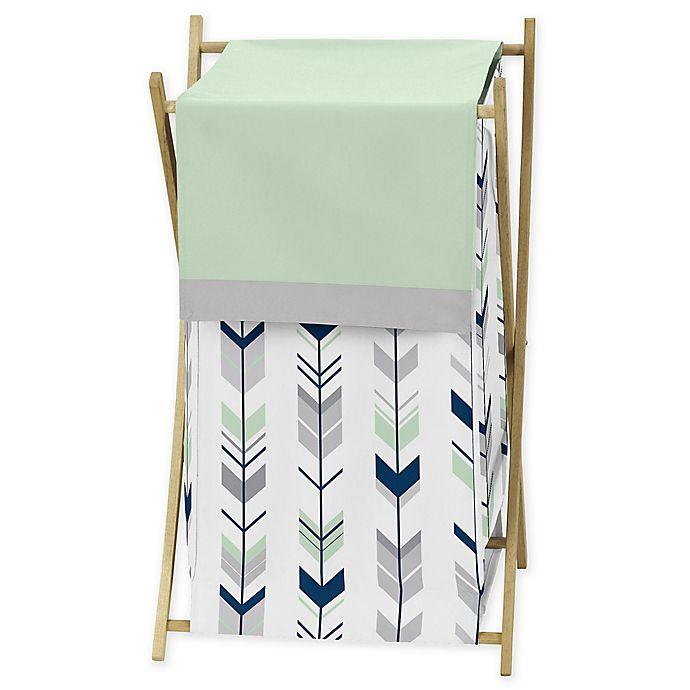 Alternate image 1 for Sweet Jojo Designs® Mod Arrow Laundry Hamper in Grey/Mint