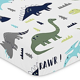 Sweet Jojo Designs Mod Dinosaur Print Fitted Crib Sheet in Turquoise/Navy